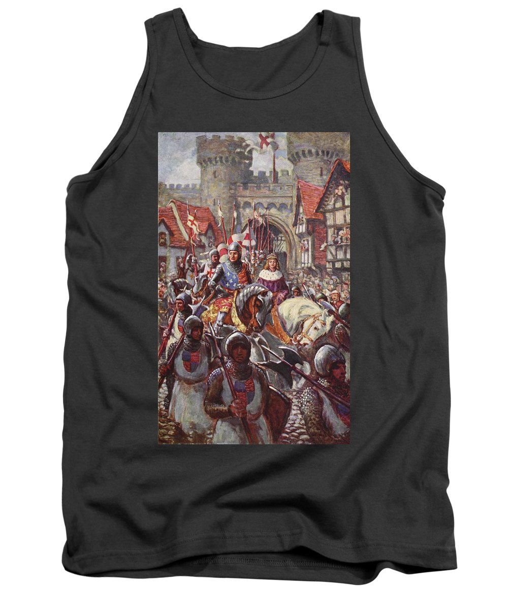 Male Tank Top featuring the drawing Edward V Rides Into London With Duke by Charles John de Lacy