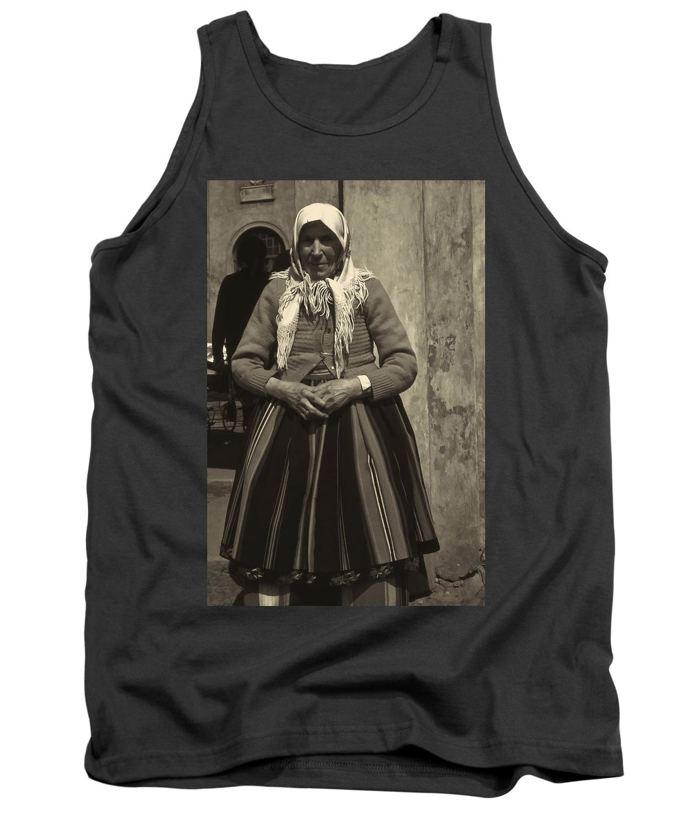 Tank Top featuring the photograph Elderly Woman In Black And White by Cathy Anderson