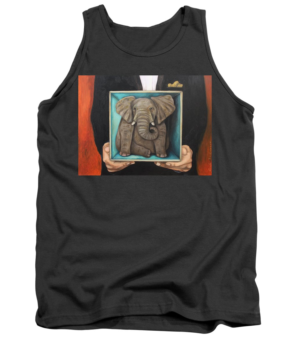 Elephant In The Room Tank Top featuring the painting Elephant In A Box by Leah Saulnier The Painting Maniac