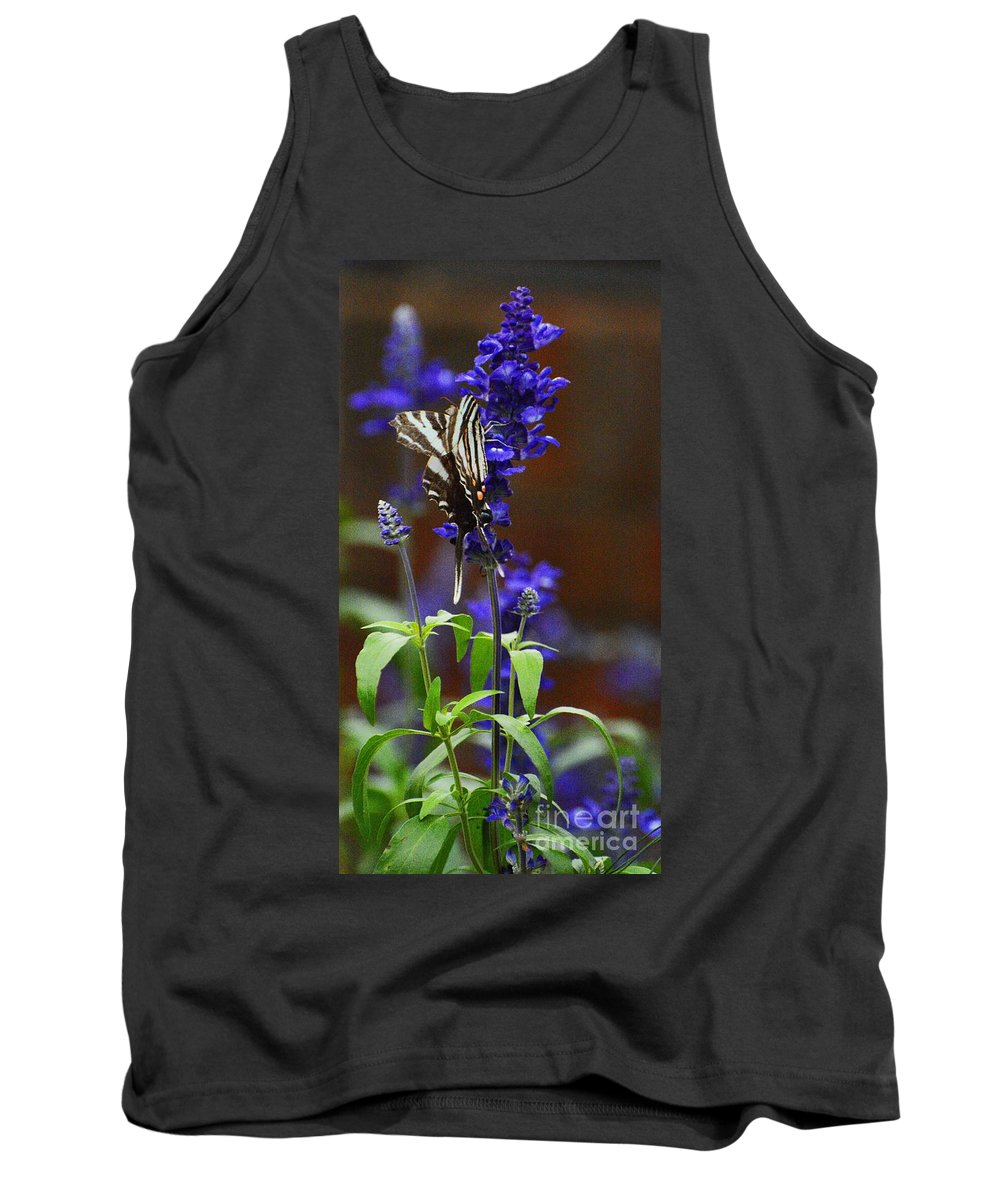 Butterfly Tank Top featuring the photograph Elusive Zebra Swallowtail by Cindy Manero
