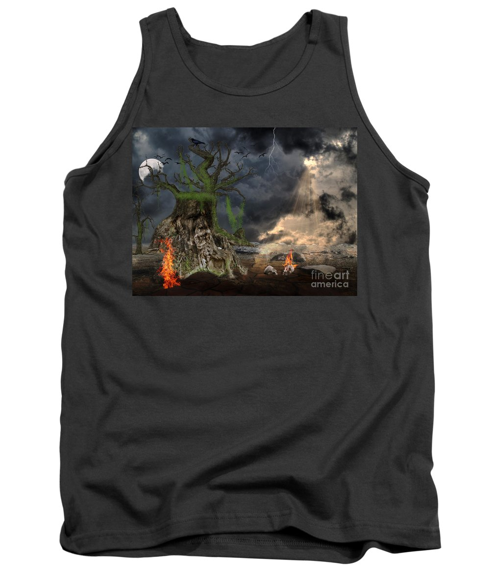 Fantasy Tank Top featuring the digital art End Of Dark Night by Image World