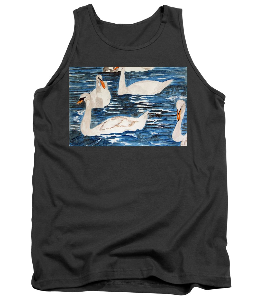 England Art Tank Top featuring the painting English Swan In The Queen's Garden by Larry Wright
