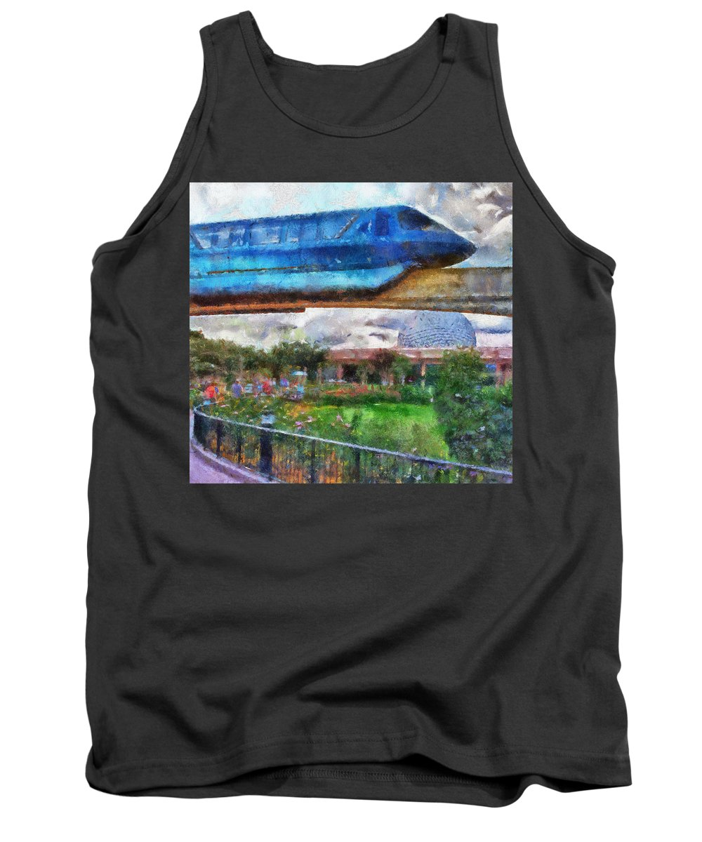 Magic Kingdom Tank Top featuring the photograph Epcot Globe And Blue Monorail Walt Disney World Photo Art 02 by Thomas Woolworth