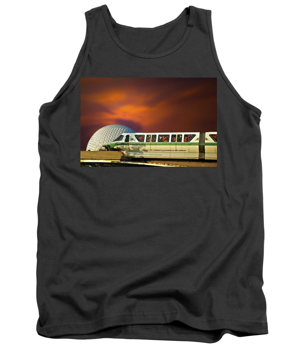 Monorail Tank Top featuring the photograph Epcot Riding The Rail by Thomas Woolworth