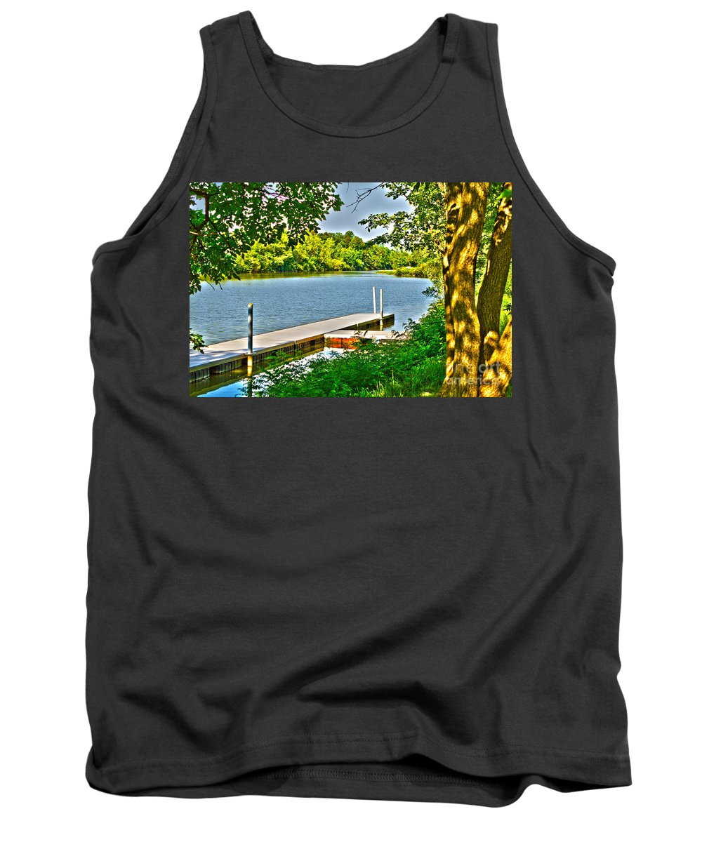 Erie Tank Top featuring the photograph Erie Canal Dockage by William Norton