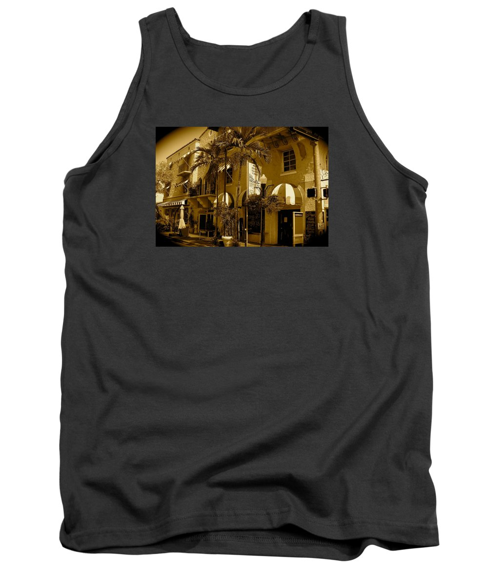 Espanola Way Miami Print Tank Top featuring the photograph Espanola Way In Miami South Beach by Monique's Fine Art