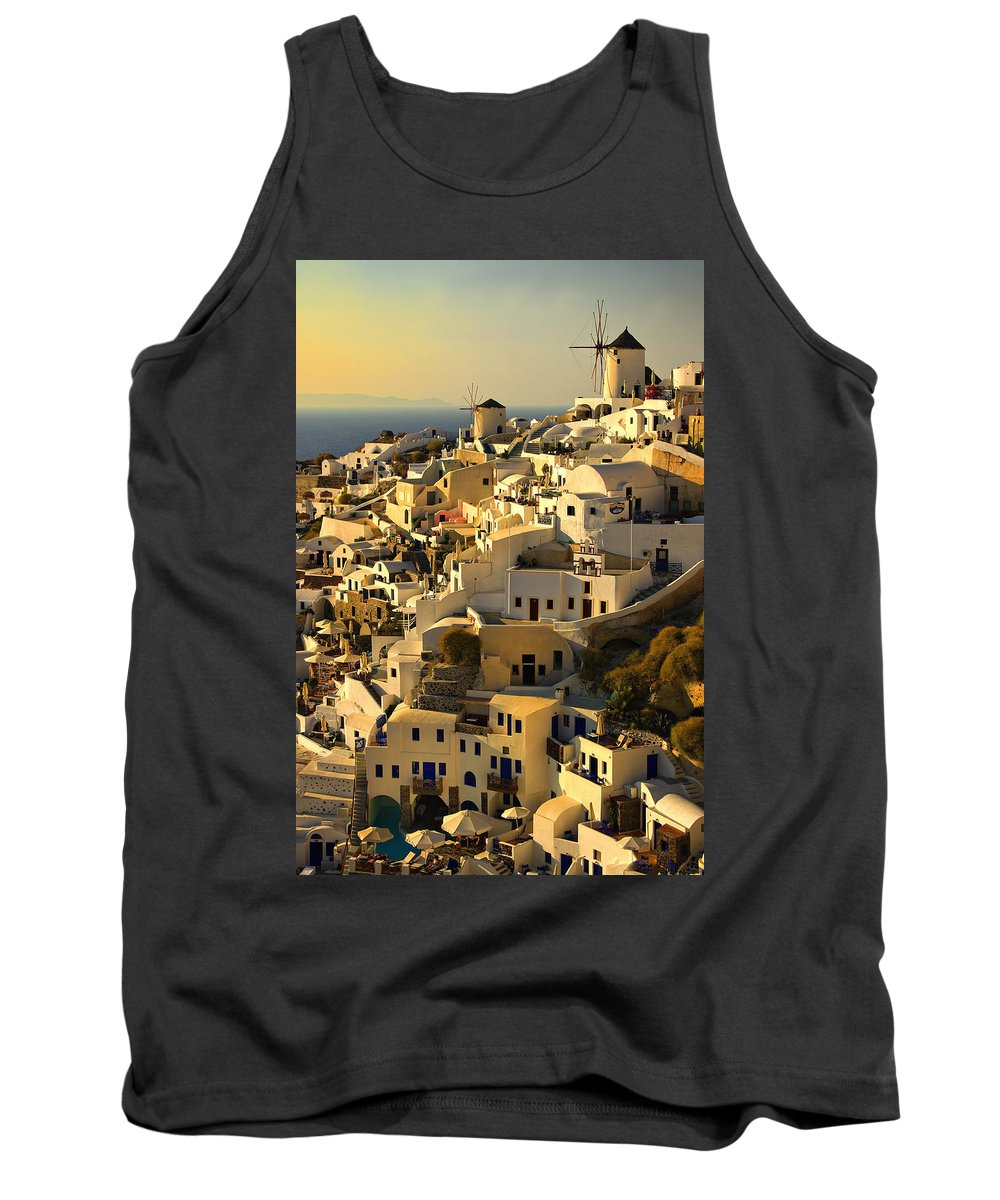 Oia Tank Top featuring the photograph evening in Oia by Meirion Matthias