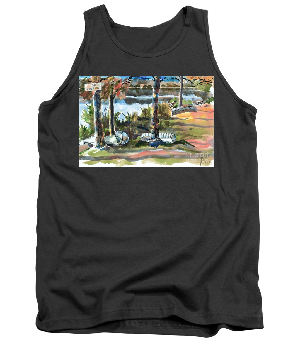 Evening Shadows At Shepherd Mountain Lake No W101 Tank Top featuring the painting Evening Shadows At Shepherd Mountain Lake No W101 by Kip DeVore