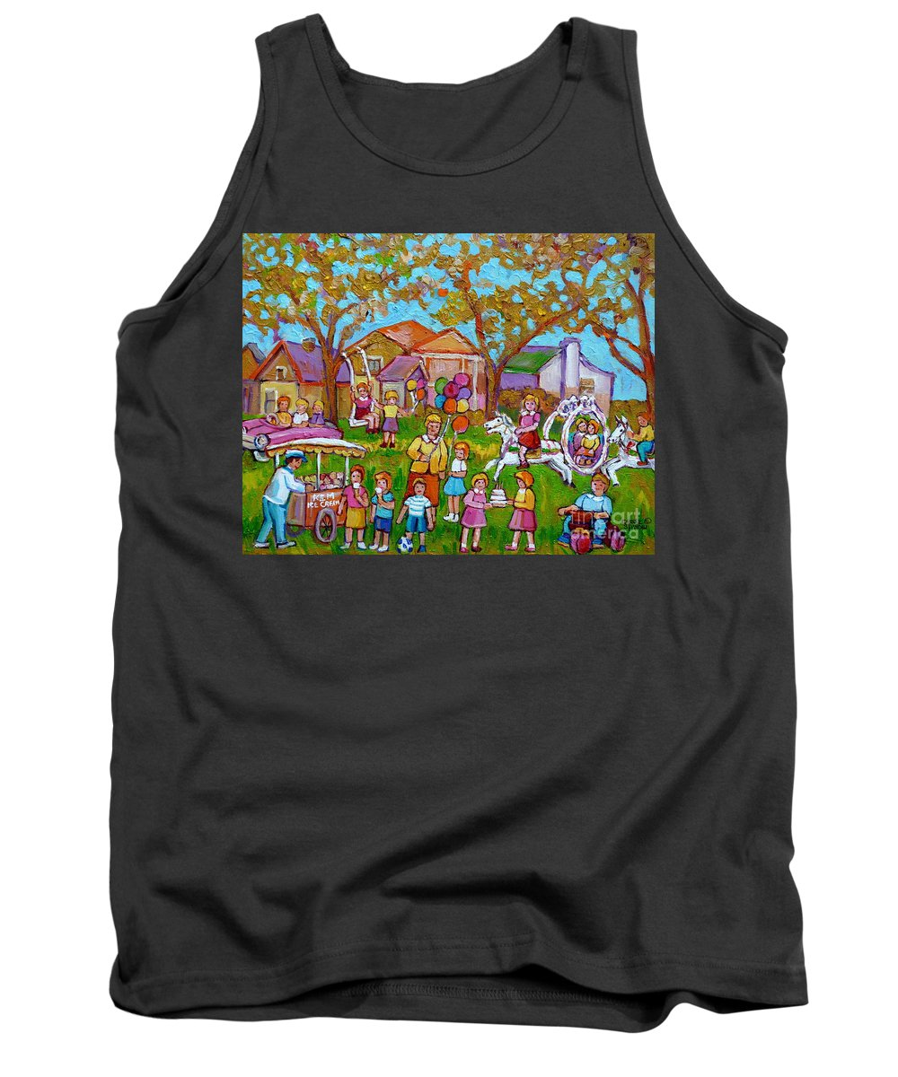 Montreal Tank Top featuring the painting Every Child's Perfect Garden Party by Carole Spandau