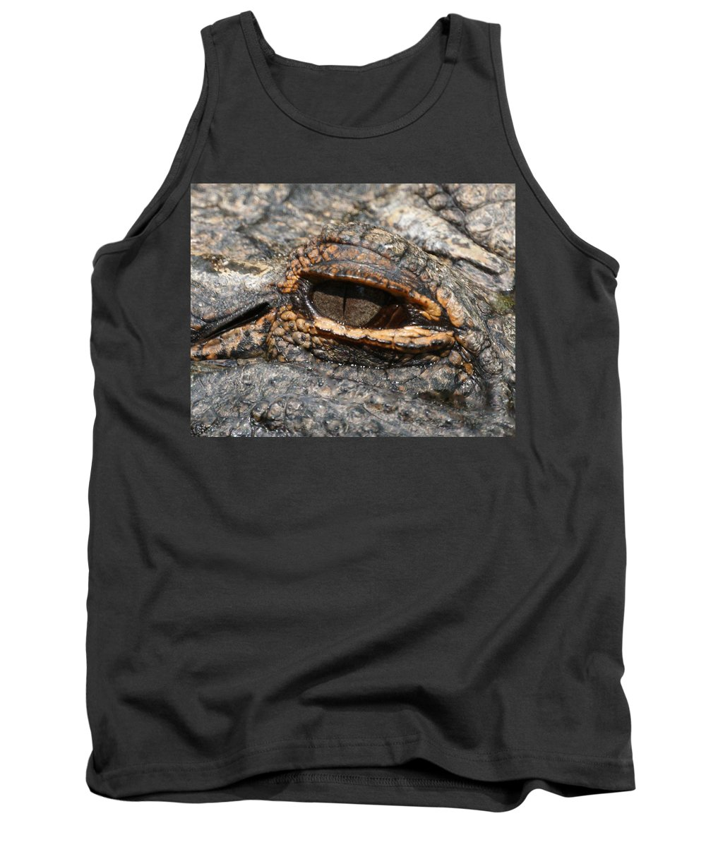 Alligator Tank Top featuring the photograph Eye Of The Gator by Ernie Echols