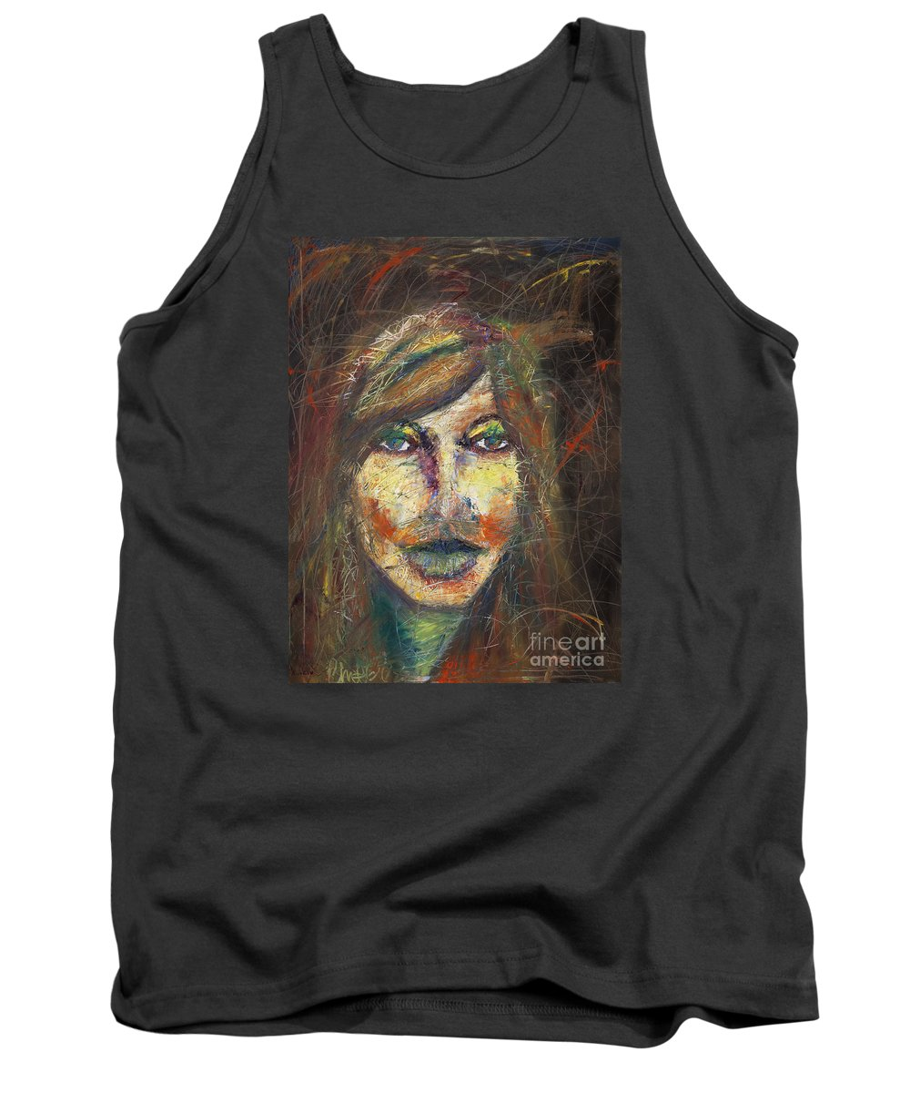 Tank Top featuring the painting Faces 18 by Christina Naman
