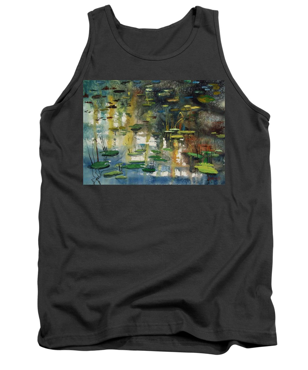 Watercolor Tank Top featuring the painting Faces In The Pond by Ryan Radke