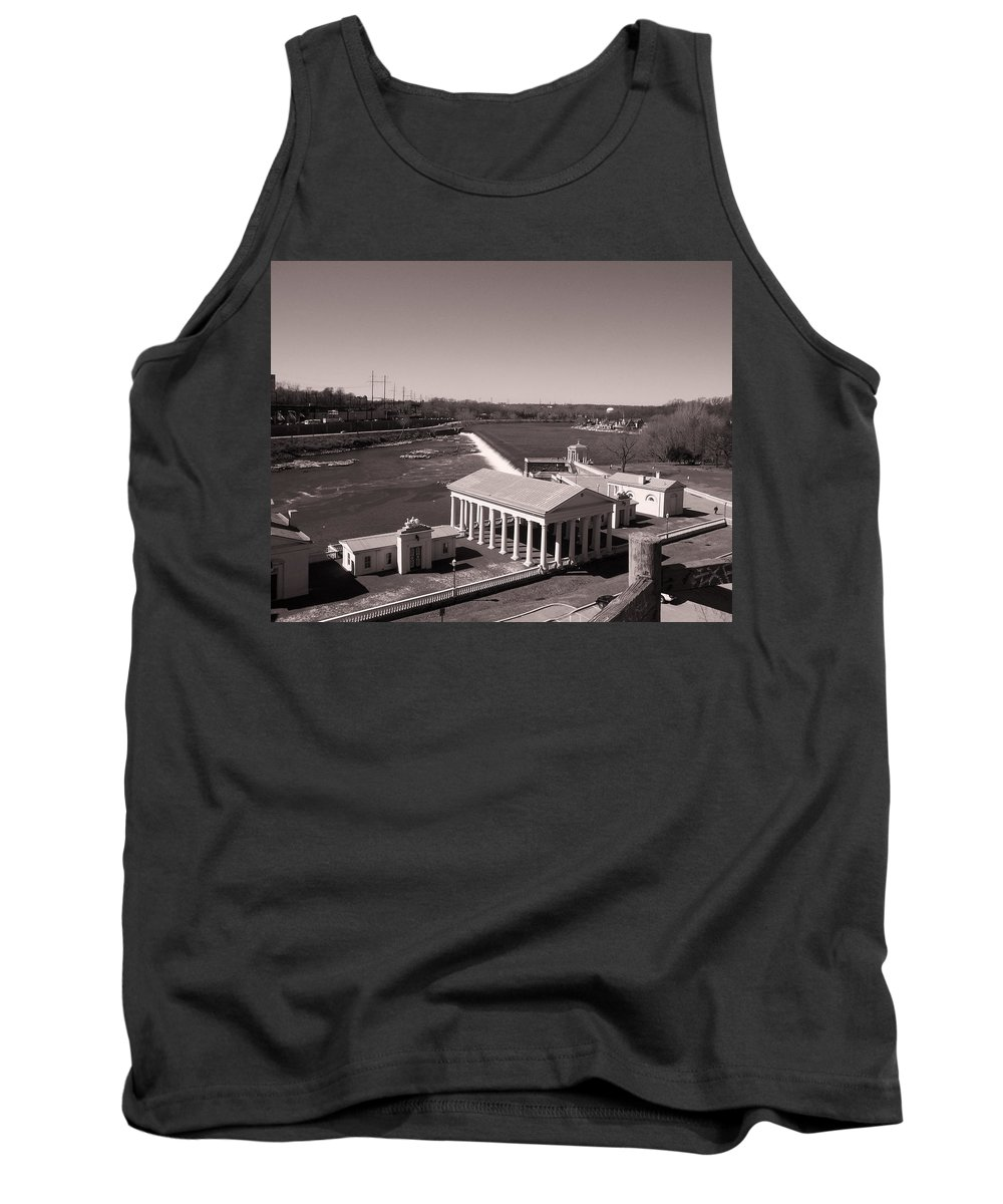 Fairmount Waterworks And Dam In Sepia Tank Top featuring the photograph Fairmount Waterworks And Dam In Sepia by Bill Cannon
