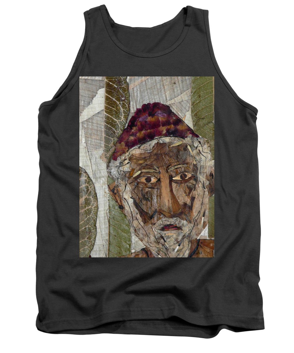 Portrait.holy Person Portrait Tank Top featuring the mixed media Fakeer by basant Soni