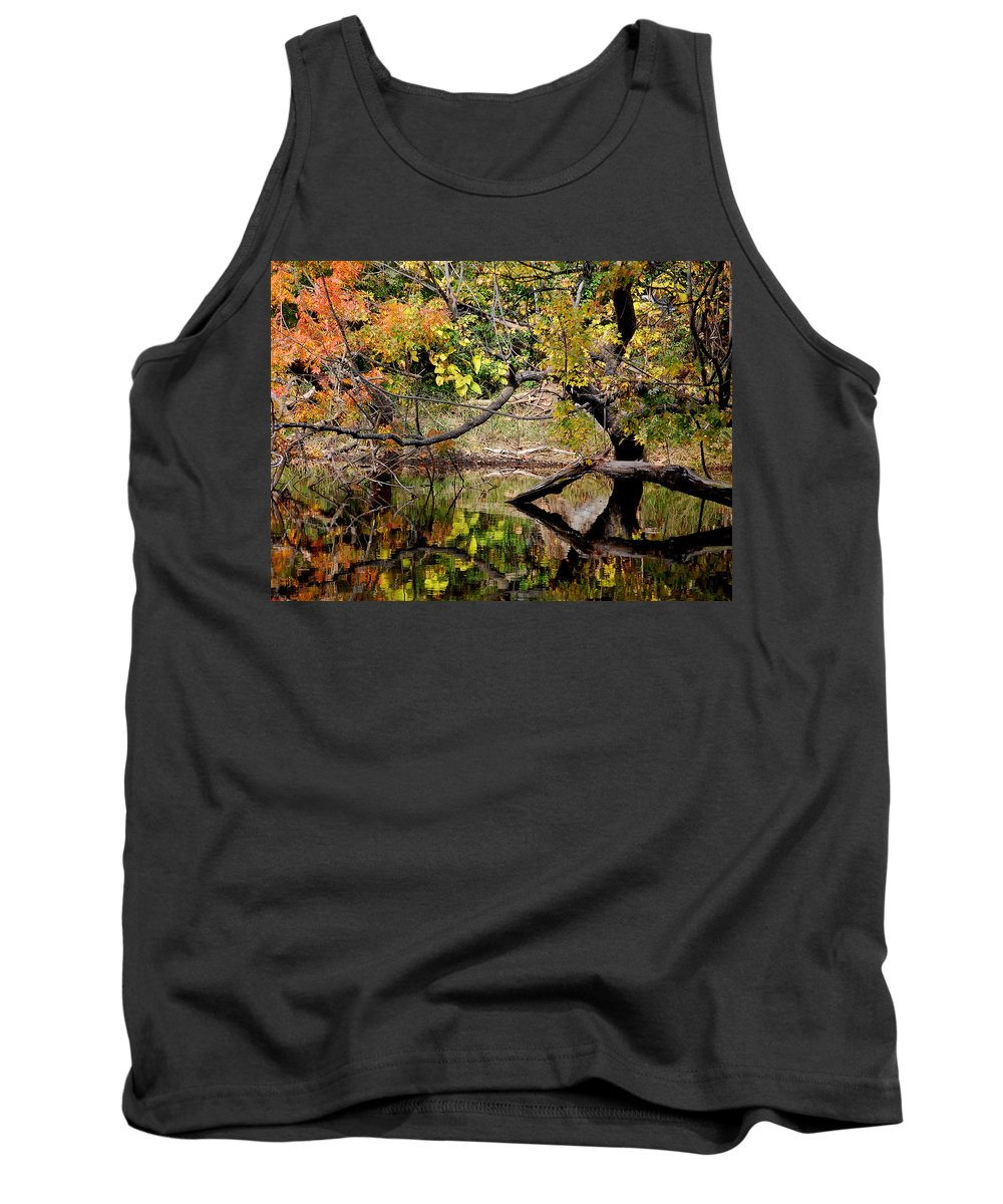 Fall Leaves Colors Branches Water One Mile Bidwell Park Chico Ca Tank Top featuring the photograph Fall From The Water by Holly Blunkall