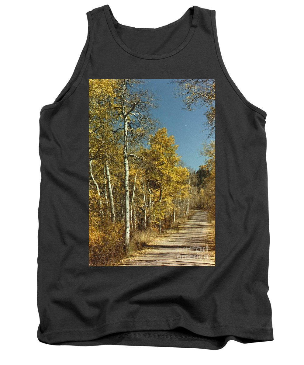 Aspens Tank Top featuring the photograph Fall Lane by Brandi Maher
