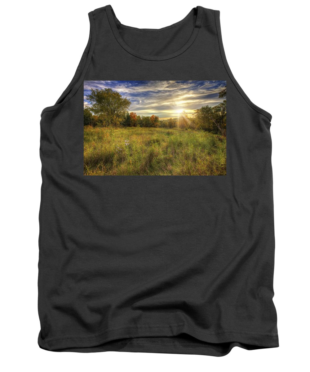 Tree Tank Top featuring the photograph Fall Sunset Over Prairie - Retzer Nature Center - Waukesha Wisconsin by Jennifer Rondinelli Reilly - Fine Art Photography