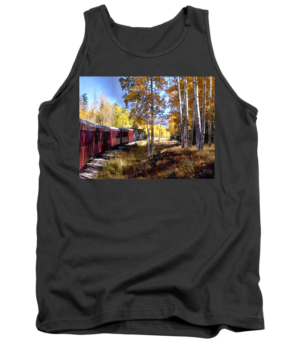 Chama Tank Top featuring the photograph Fall Train Ride New Mexico by Kurt Van Wagner