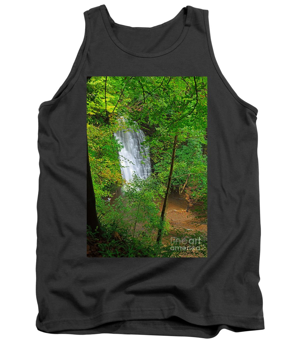 Waterfall Tank Top featuring the photograph Falling Foss Waterfall In North York Moors National Park by Louise Heusinkveld