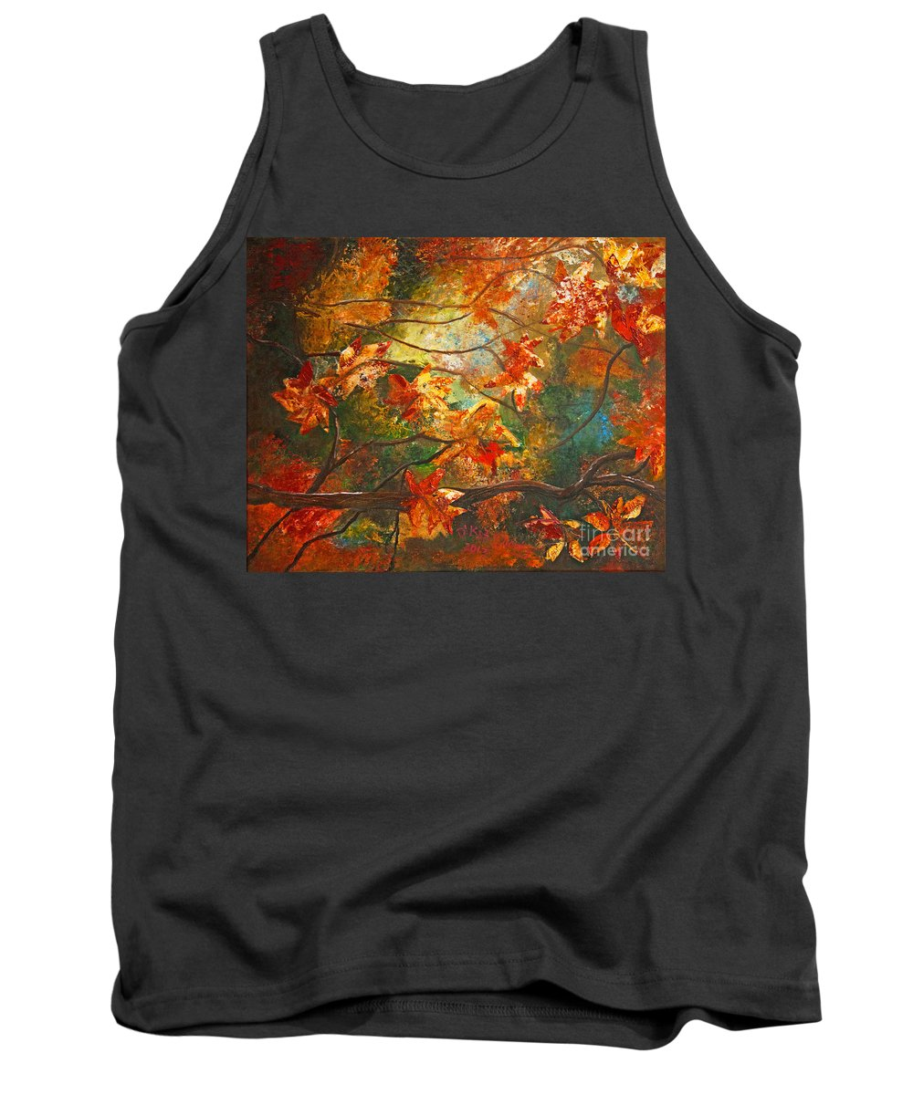 Landscape Tank Top featuring the painting Fall's Light by Kat Solinsky