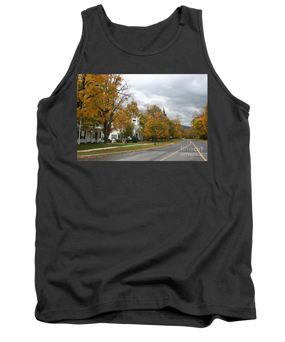 Indian Summer Tank Top featuring the photograph Autumn Trees At The Roadside by Christiane Schulze Art And Photography