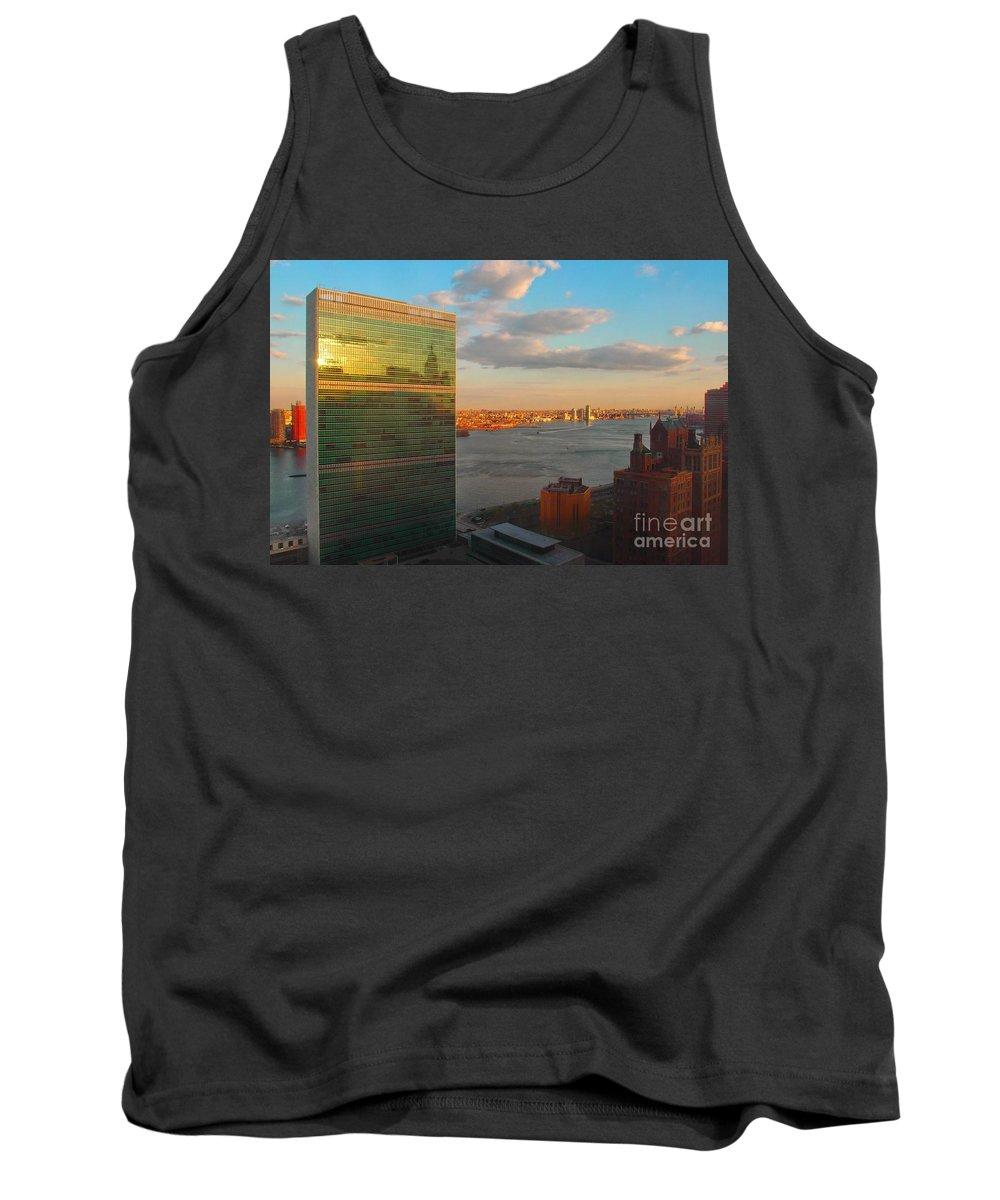 United Nations Tank Top featuring the photograph United Nations Secretariat With Chrysler Building Reflection by Miriam Danar