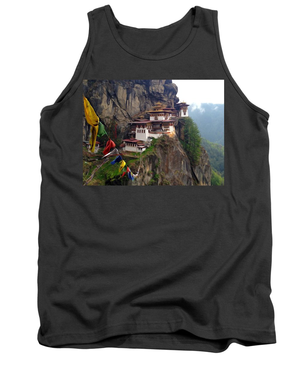 Architect Tank Top featuring the painting Famous Tigers Nest Monastery Of Bhutan 10 by Jeelan Clark