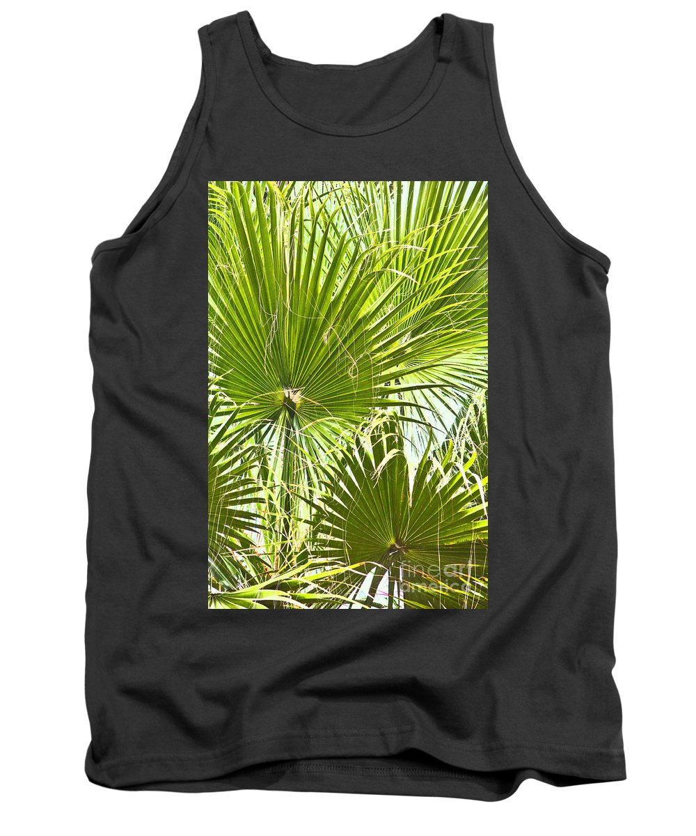 Trees Tank Top featuring the photograph Tropical Fans by Roselynne Broussard
