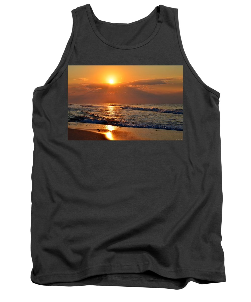 Fantastic Tank Top featuring the photograph Fantastic Sunrise Colors Clouds Rays And Waves On Navarre Beach by Jeff at JSJ Photography