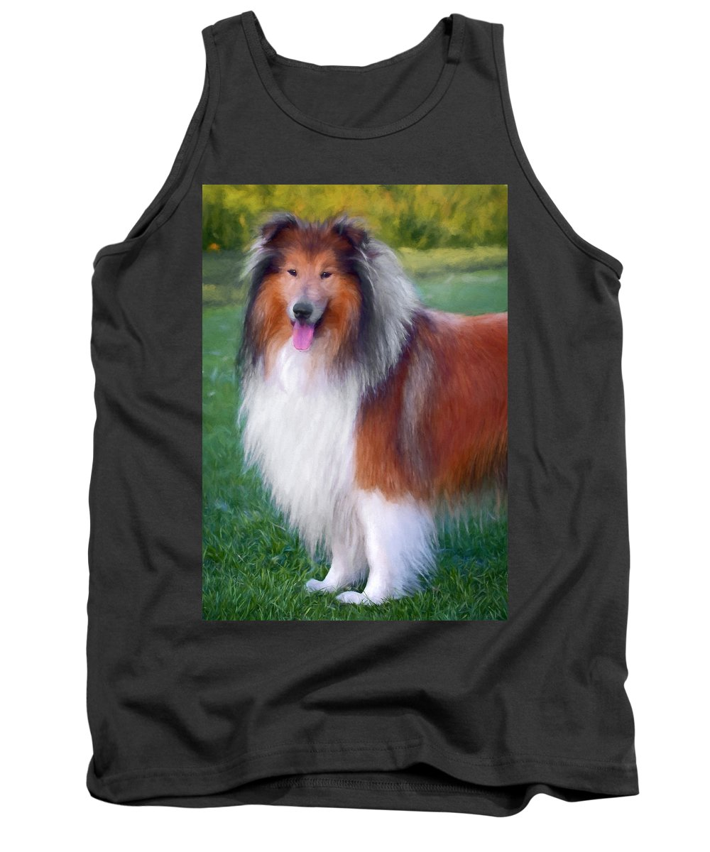 Collie Tank Top featuring the photograph Farm Collie by Daniel Hagerman