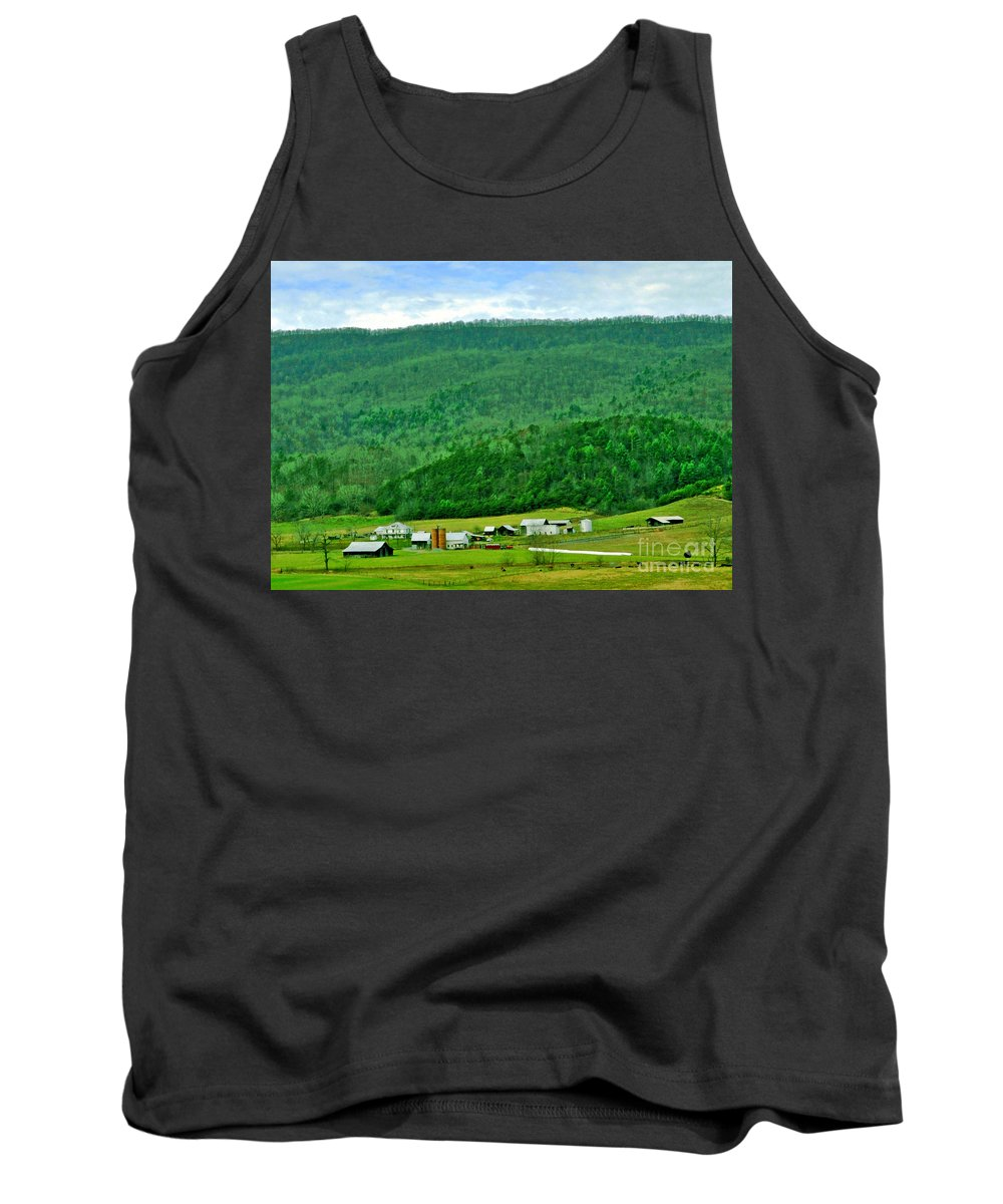 Farm Tank Top featuring the photograph Farm In The Valley by Lydia Holly