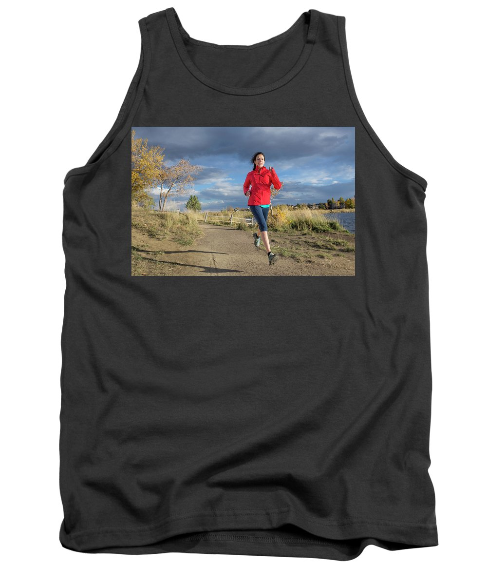 Healthy Lifestyle Tank Top featuring the photograph Female Runner In Colorado by Alexandra Simone