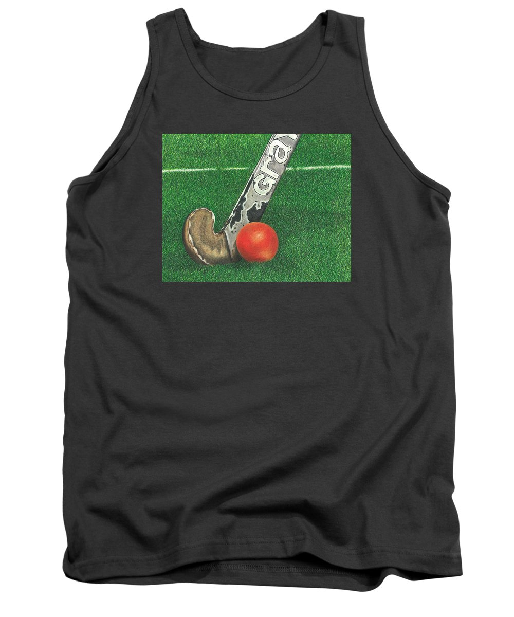 Field Hockey Tank Top featuring the drawing Field Hockey by Troy Levesque