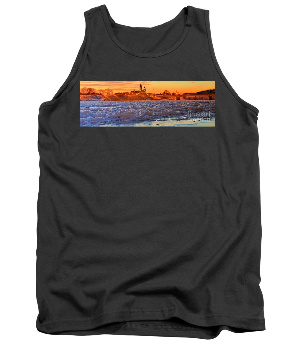 Lock Haven Tank Top featuring the photograph Fire Over The Clinton County Courthouse by Adam Jewell
