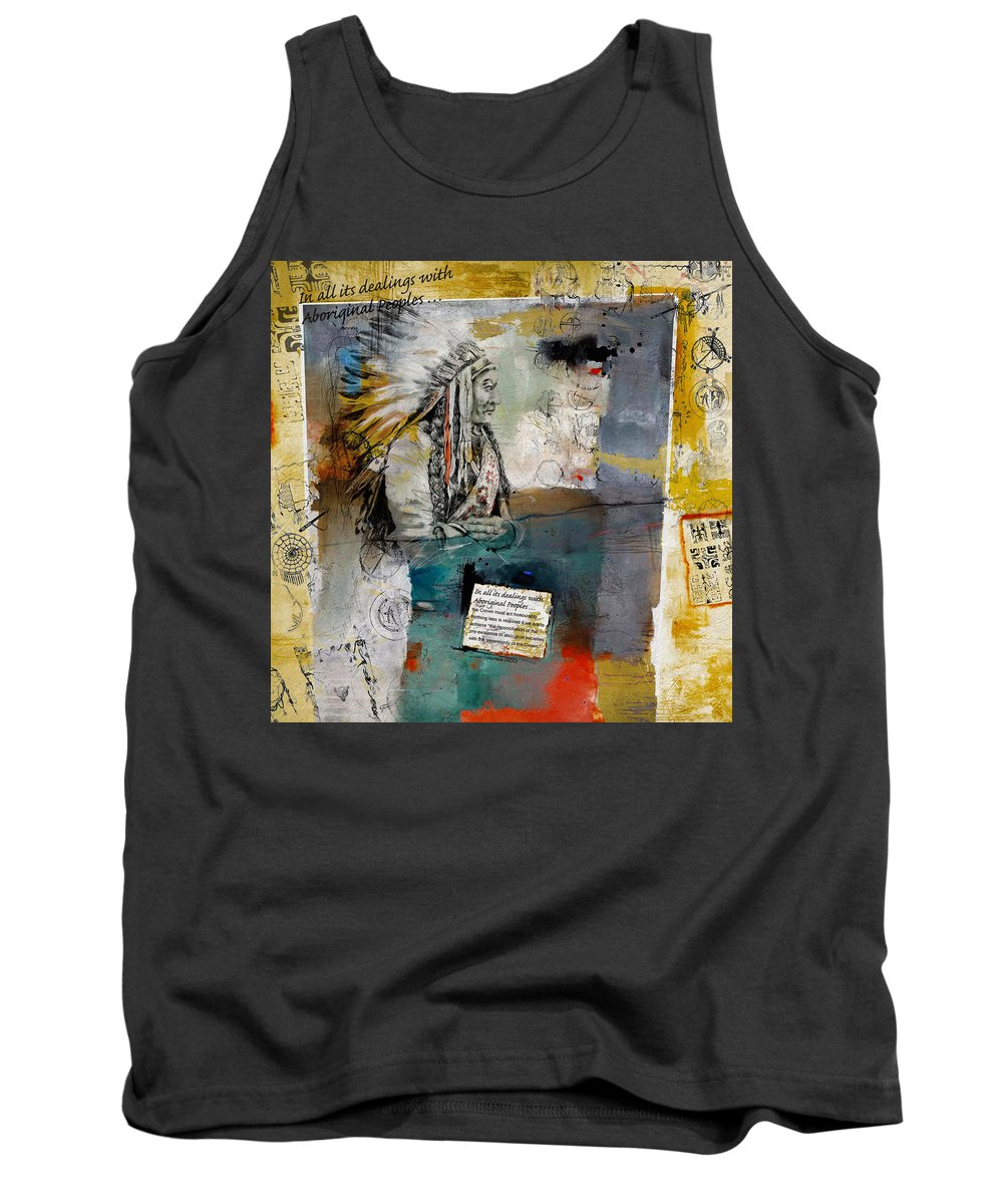 Aboriginals Tank Top featuring the painting First Nations 34 by Corporate Art Task Force