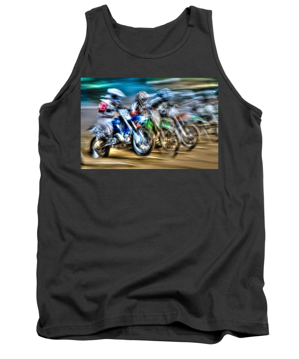 Blur Tank Top featuring the photograph First Turn In Sight by Randy Walton