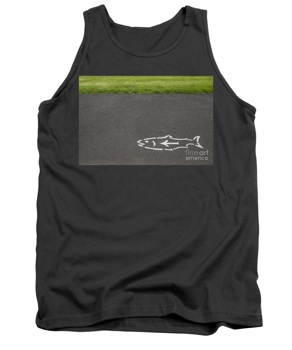 Columbia River Gorge Tank Top featuring the photograph Fish And Arrow On Pavement by Bryan Mullennix