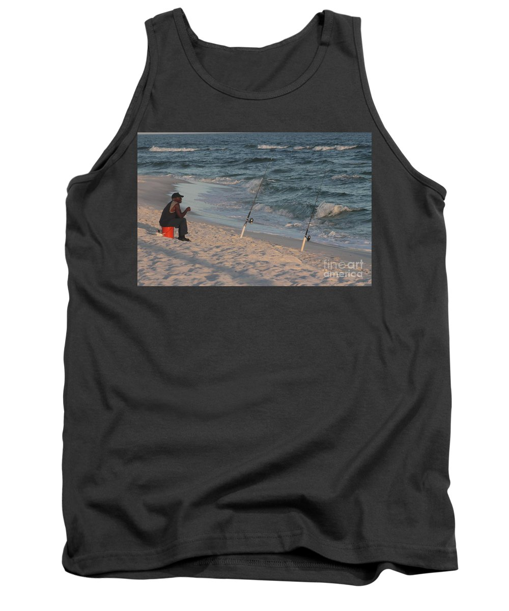 Beach Tank Top featuring the photograph Fisherman At The Beach by Michelle Powell