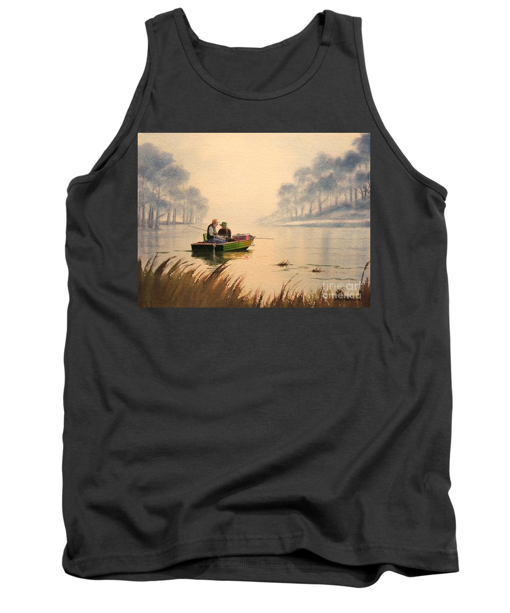 Fishing Tank Top featuring the painting Fishing By Sunrise by Bill Holkham