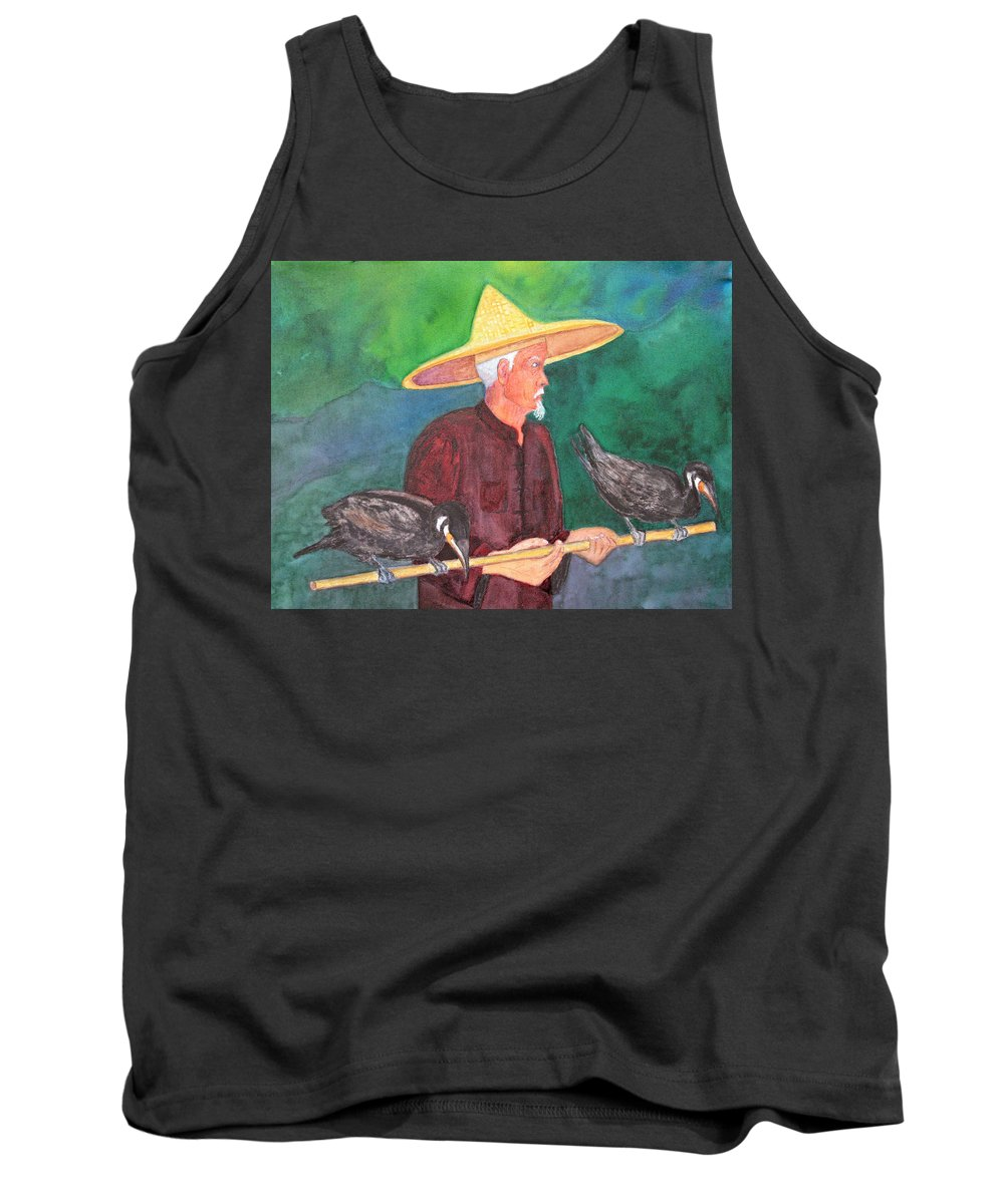 China Tank Top featuring the painting Fishing Cormorants by Patricia Beebe