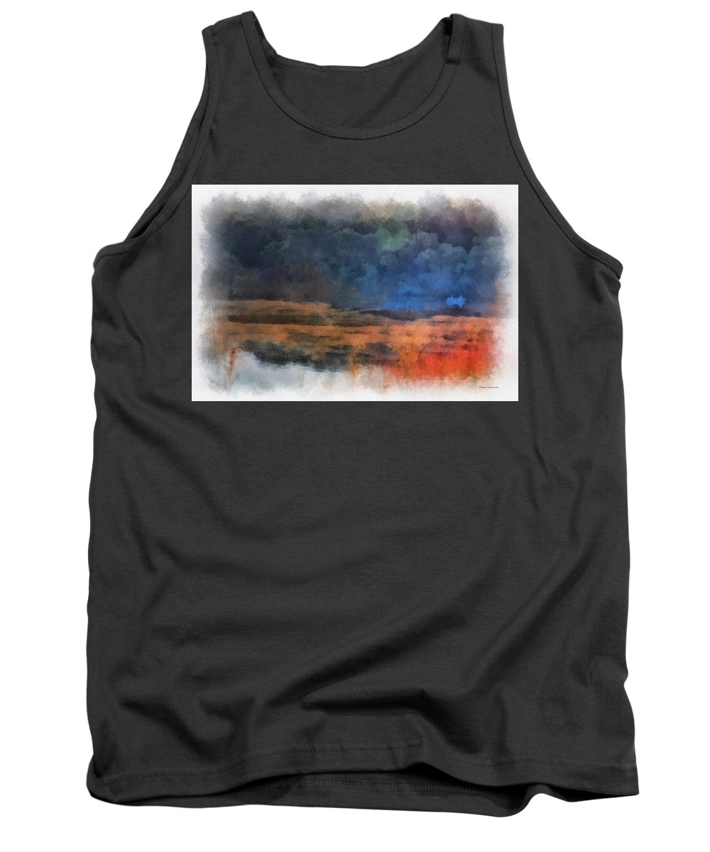 Fishing Tank Top featuring the photograph Fishing In The Fog Photo Art by Thomas Woolworth