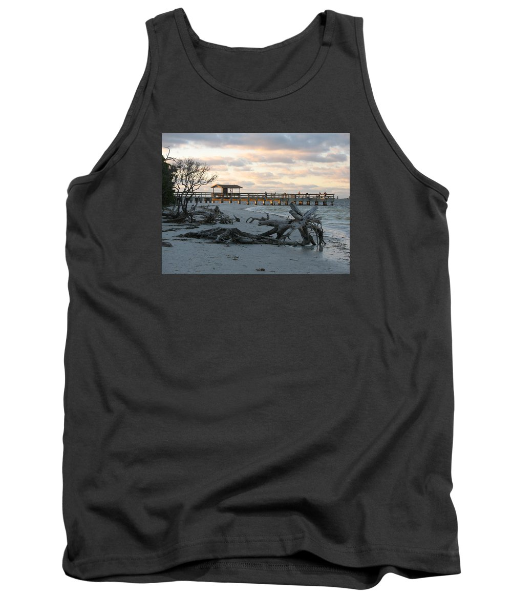 Fishing Pier Tank Top featuring the photograph Fishing Pier And Driftwood by Christiane Schulze Art And Photography