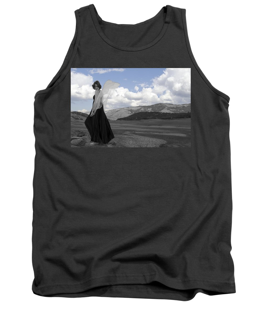 Calley Duvall Tank Top featuring the photograph Flirty Fairy Black And White by Teri Schuster