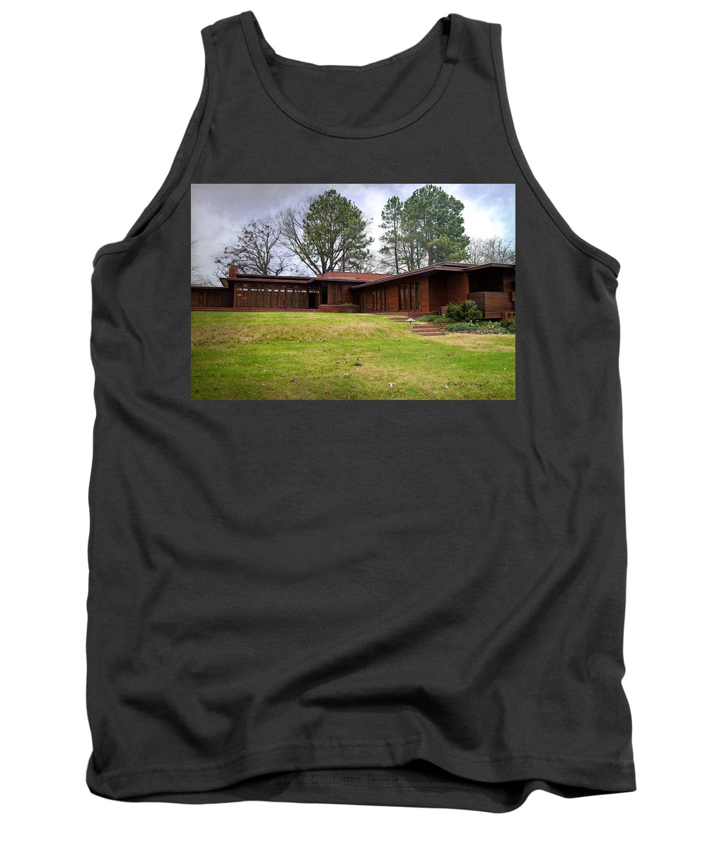 Featured Tank Top featuring the photograph Fllw Rosenbaum Usonian House - 4 by Paulette B Wright