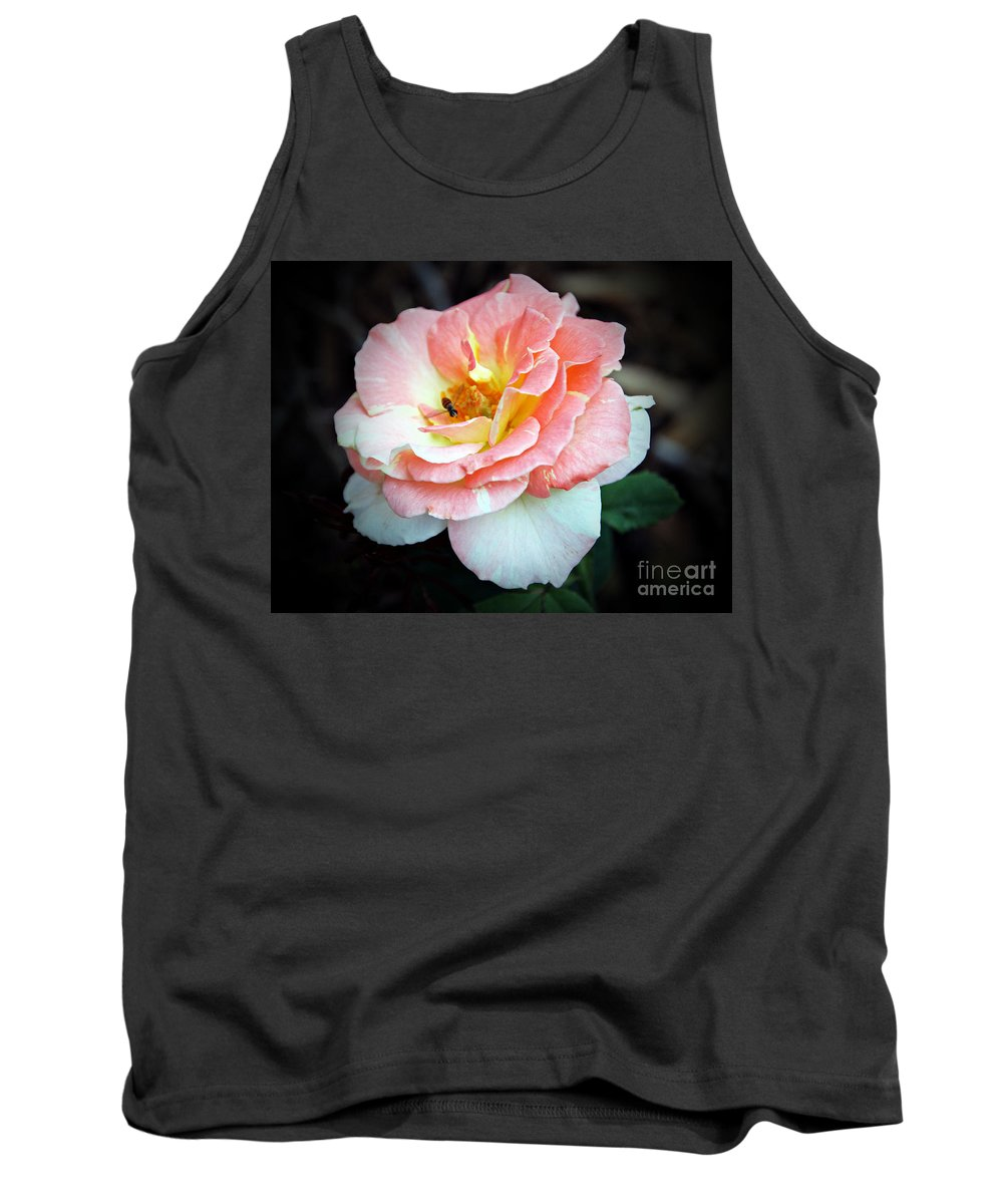 Pink And White Stripped Rose With Yellow Center Tank Top featuring the photograph Floral Bee by Elizabeth Winter