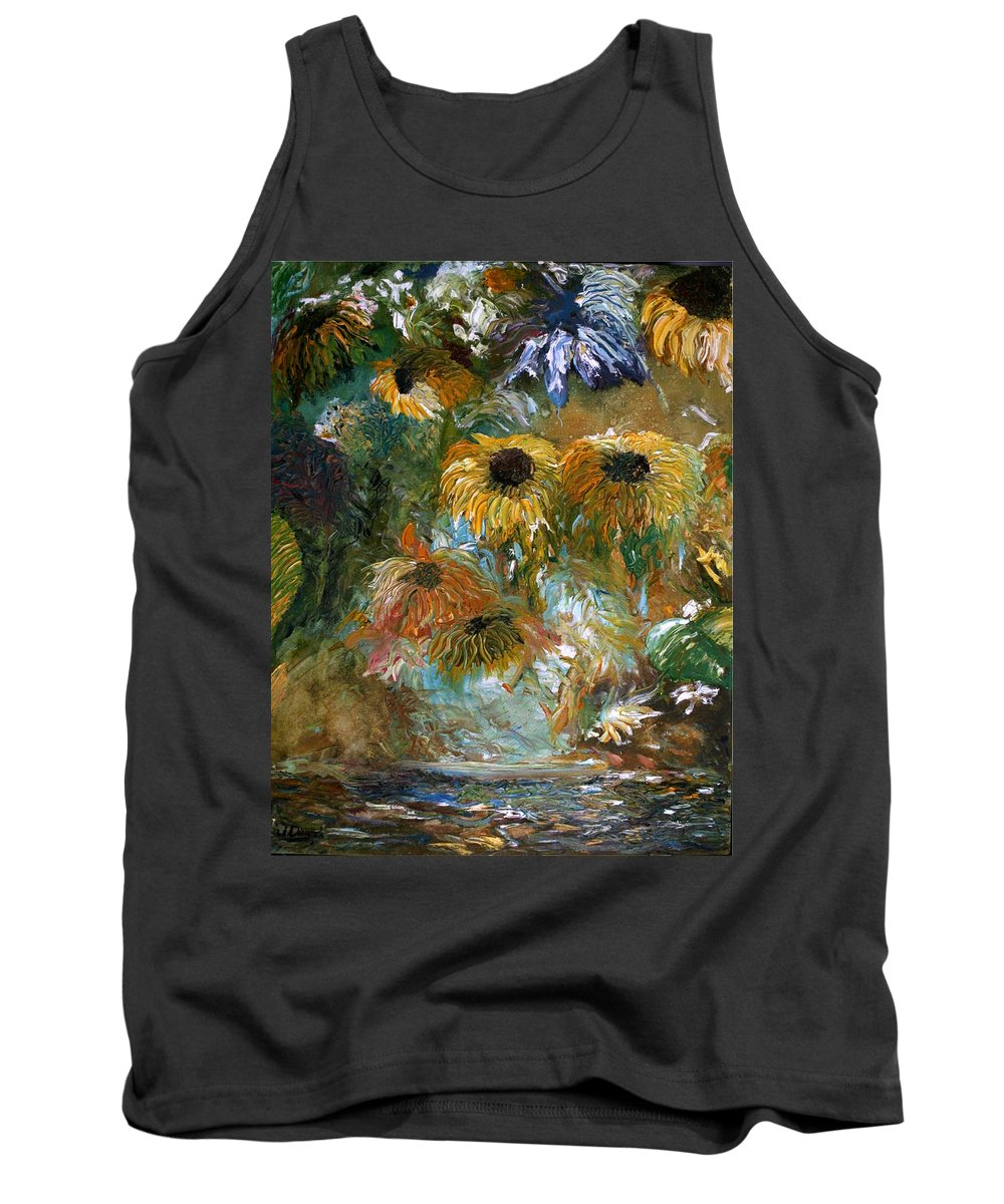 Flowers Tank Top featuring the painting Flower Rain by Jack Diamond