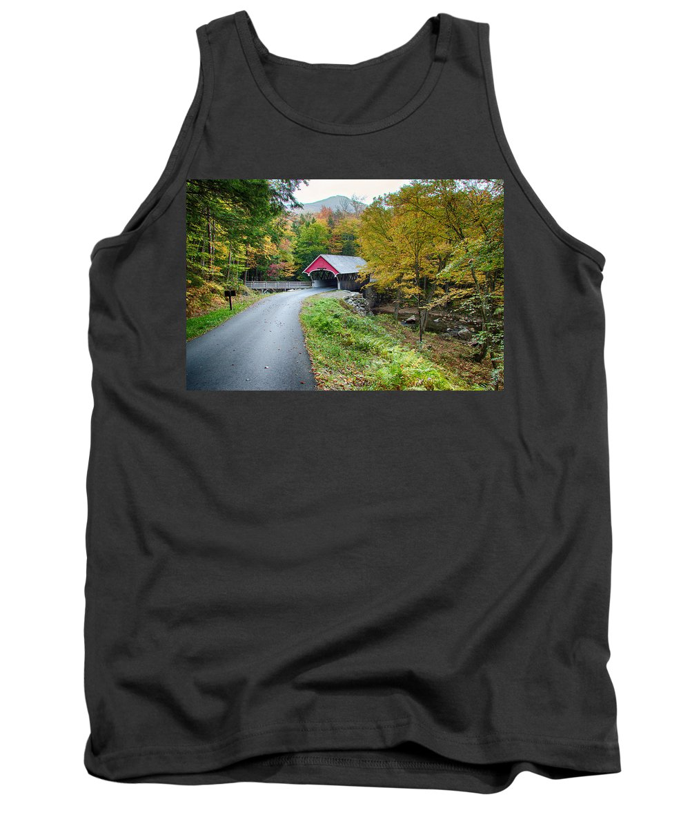 Autumn Foliage New England Tank Top featuring the photograph Flume Gorge Covered Bridge by Jeff Folger