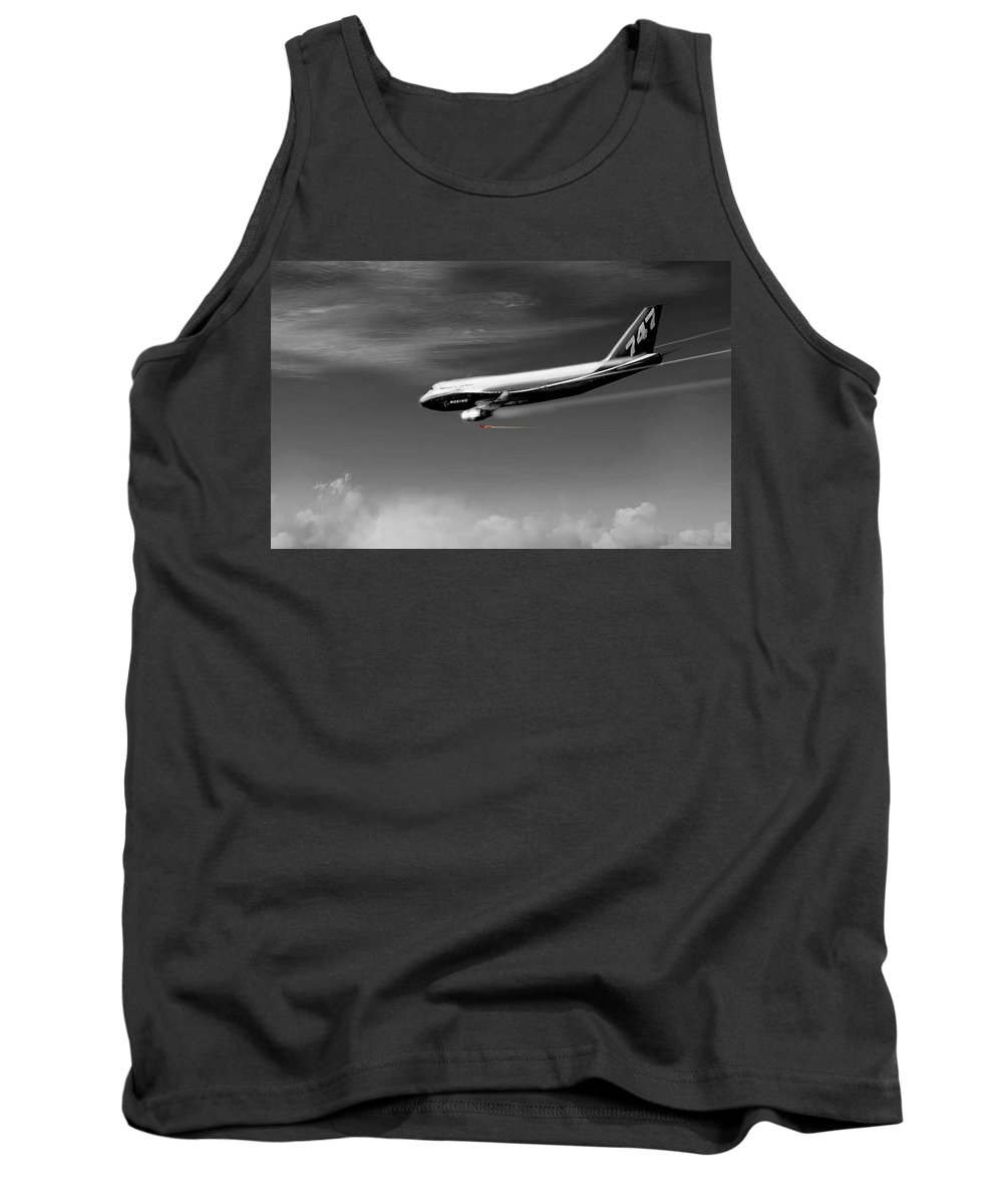 Airplane Tank Top featuring the digital art Flying Safe - Boeing 747 by Marcello Cicchini