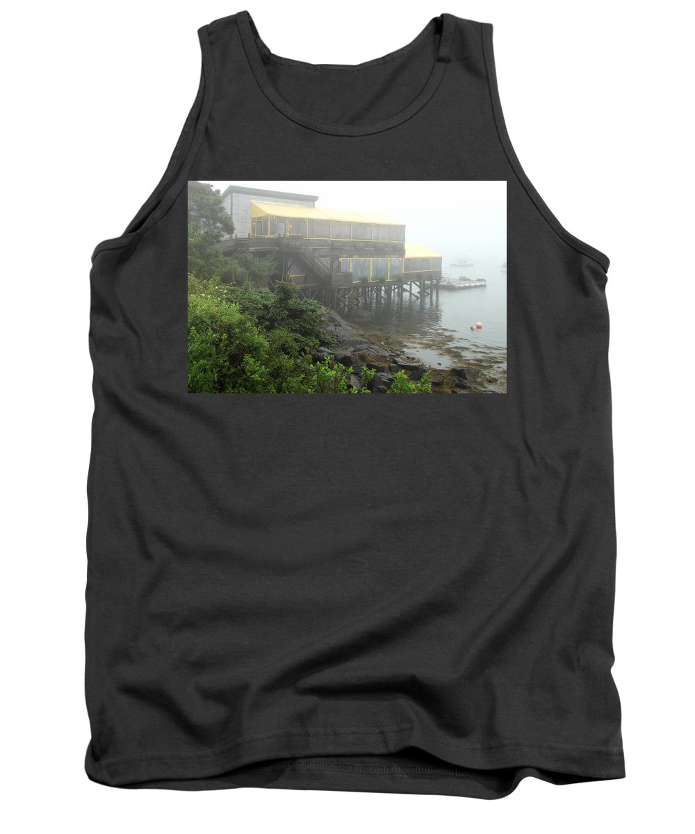 Fog Tank Top featuring the photograph Fog At The Restaurant by Sharon Horn