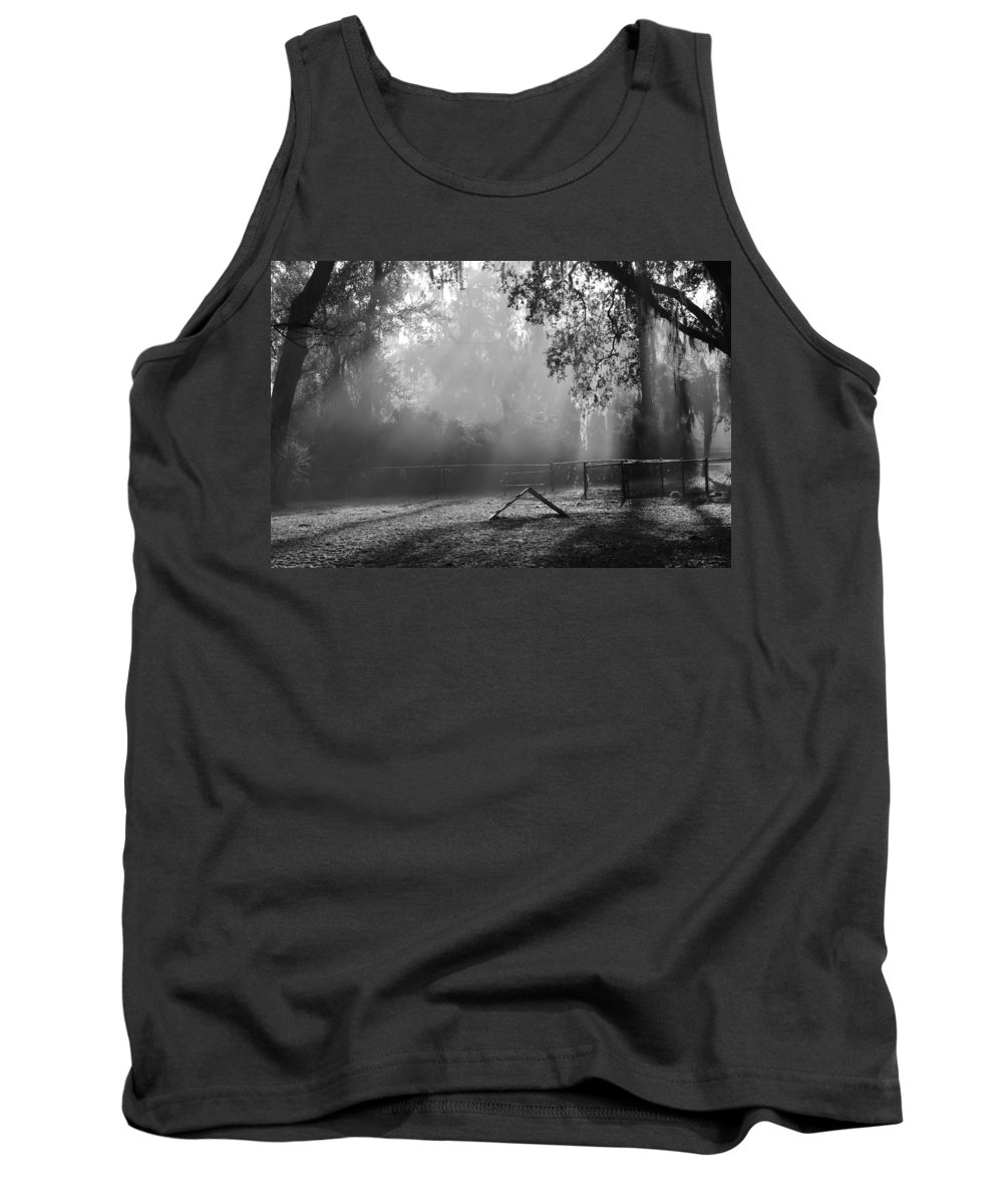 Dog Park Tank Top featuring the photograph Foggy Morn At Dog Park by Patti Colston